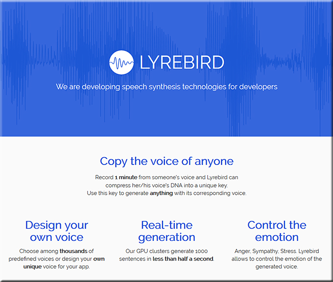 lyrebird- specifications of the software using artificial intelligence